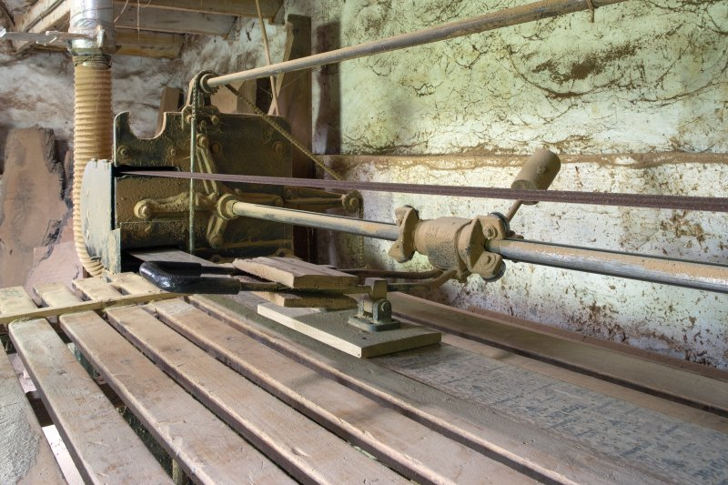 Interior view showing sanding machine in workshop at The Steading, Nether Blainslie.