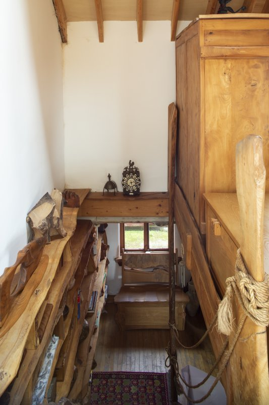 Interior view looking down staircase from first floor to ground floor of extension room in house at The Steading, Nether Blainslie.