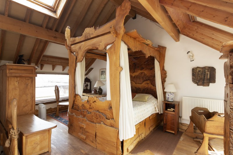 Interior view of first-floor bedroom in extension to house at The Steading, Nether Blainslie.