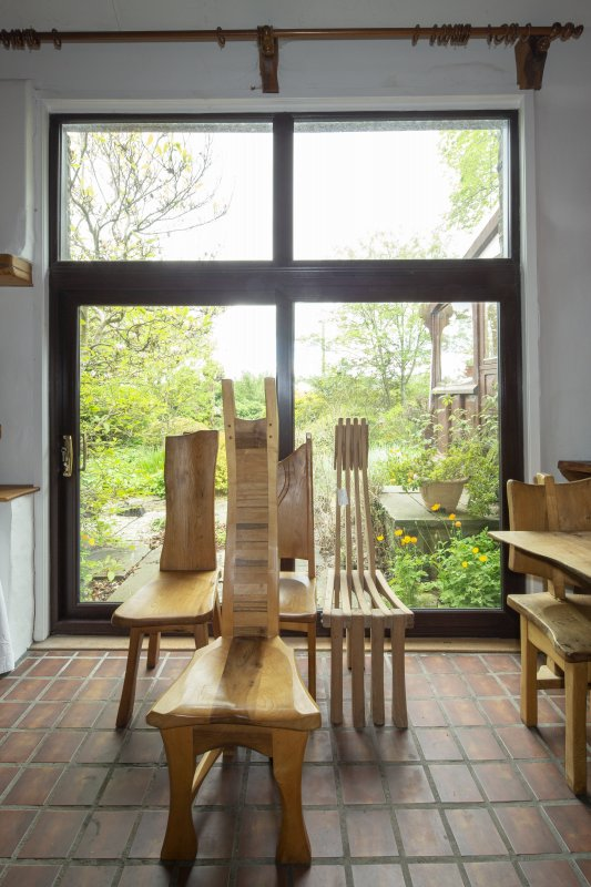 Interior view showing sample chairs in ground-floor study in house at The Steading, Nether Blainslie.