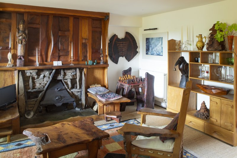 Interior view of living room on ground floor of house at The Steading, Nether Blainslie.
