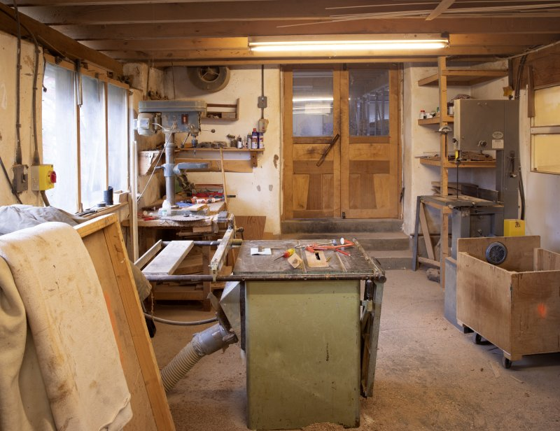 Interior view of stables workshop at The Steading, Nether Blainslie.