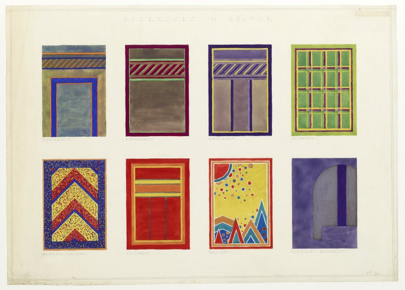 Watercolour showing designs for colour combinations inscribed 'Exercises in Colour, Contrast, Harmony, Broken Colour, Discord, Gaiety, Dignified Restraint and 3rd year'.