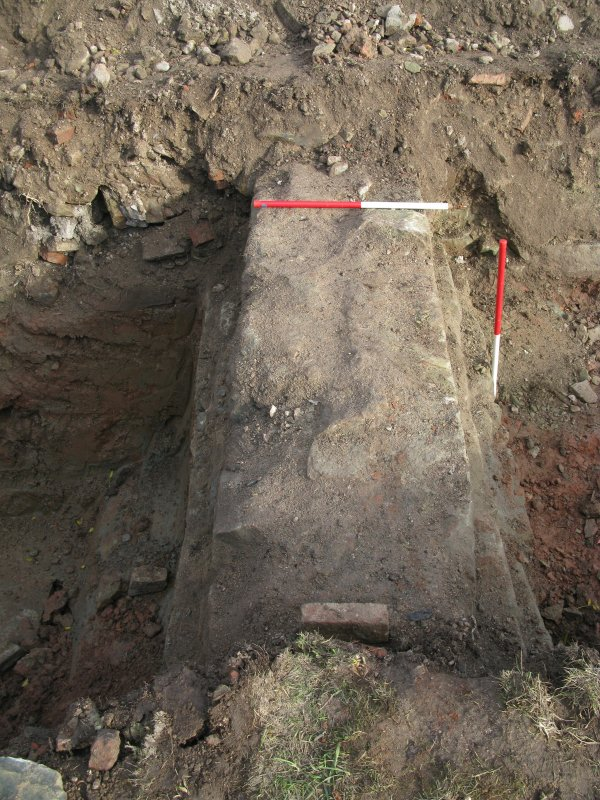 Archaeological evaluation, Trench 4, wall 007, Allanbank, Duns, Scottish Borders
