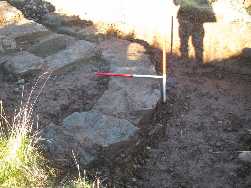 Archaeological evaluation, Trench 5, curving linear foundations 016, Allanbank, Duns, Scottish Borders