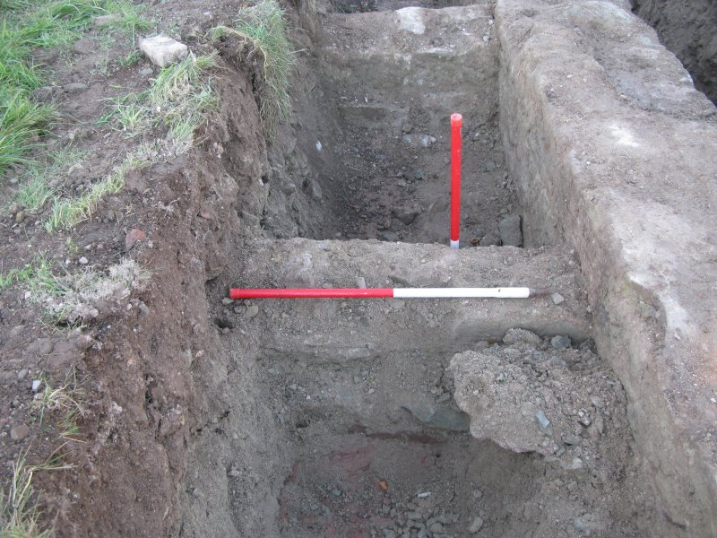 Archaeological evaluation, Trench 5, wall 017, Allanbank, Duns, Scottish Borders