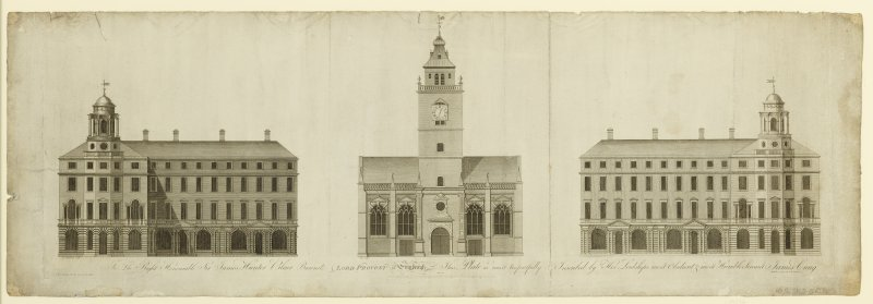 Engraving showing Elevation looking Southward of Tron Kirk and proposed building on Royal Mile