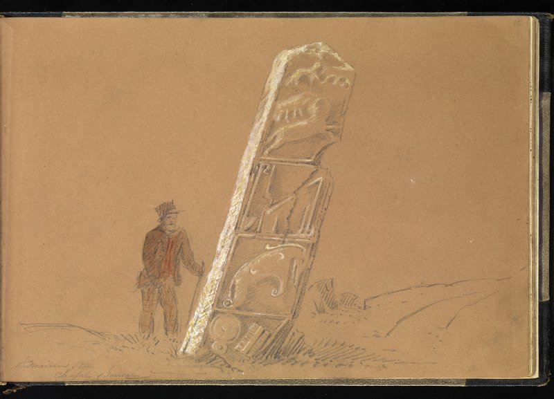 Drawing of man next to stone inscribed 'The Maiden Stone, Chapel Garioch'.
