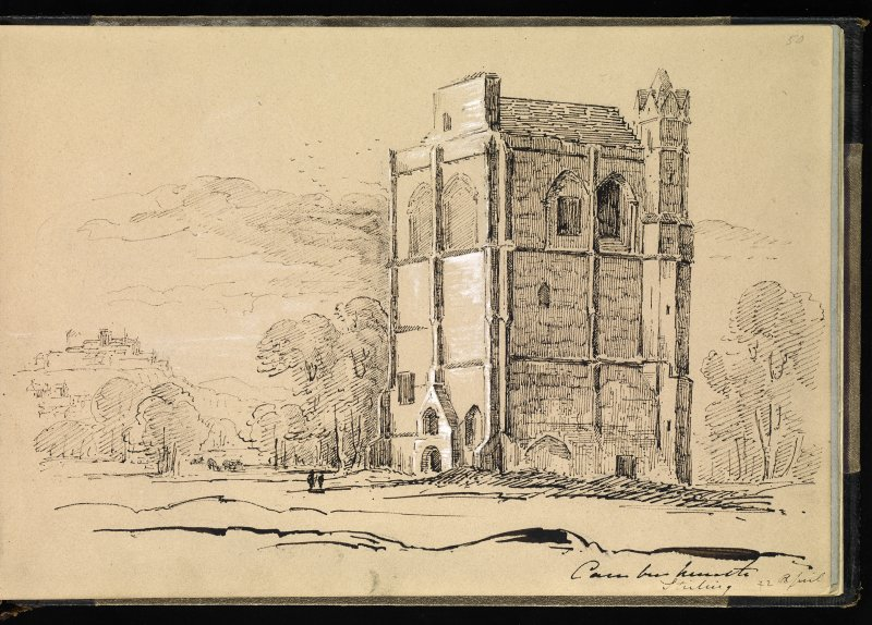 Drawing of Cambuskenneth Abbey inscribed 'Cambuskenneth Stirling 22 April'.