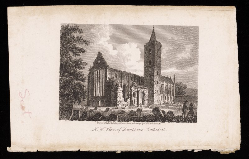Engraving showing general view of Dunblane Cathedral from SW.