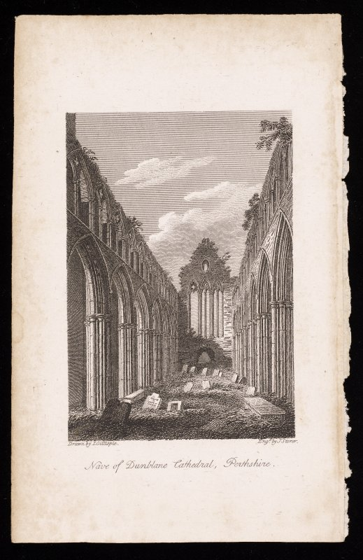 Engraving showing interior view of nave, Dunblane Cathedral.