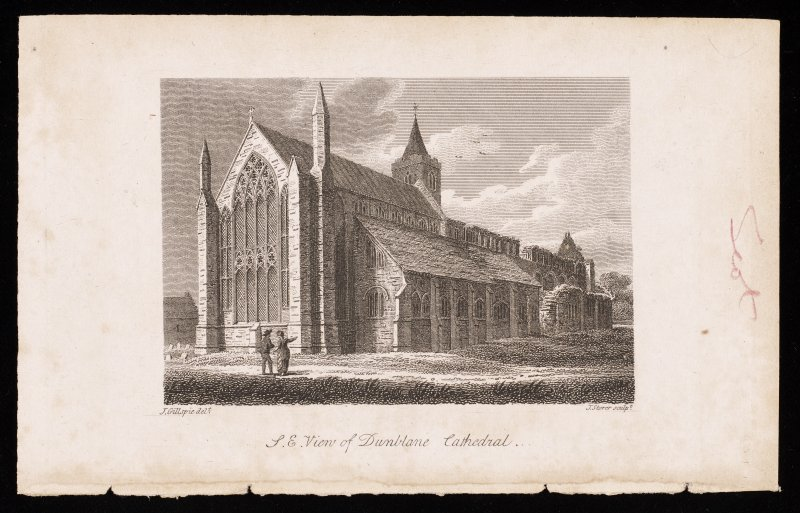 Engraving showing general view of Dunblane Cathedral from NE.