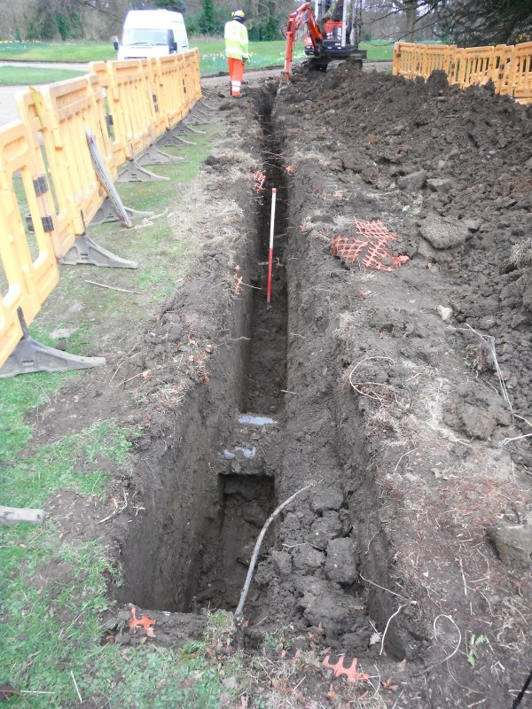 Watching brief, Post-excavation shot of trench 3 (W house running parallel to previous dug trench), Lauriston Castle, Edinburgh