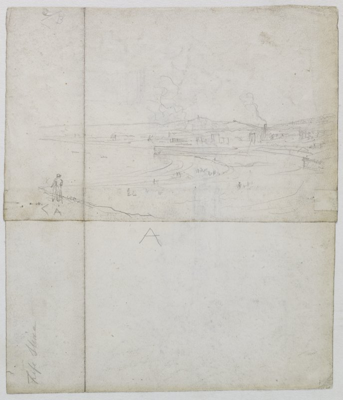 Verso showing drawing of Kirkcaldy from Ravensheugh Castle inscribed 'Fifeshire'.
