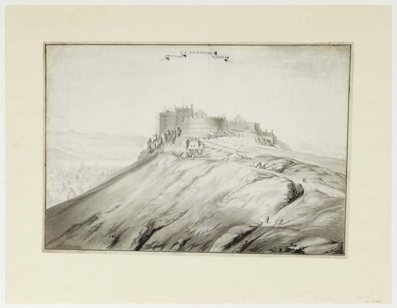 Perspective view of Edinburgh Castle by Colonel William Skinner inscribed 'Skinner fecit 1773'.