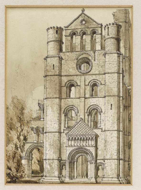 Perspective view from N of N transept, Kelso Abbey by R W Billings that was reproduced in The Baronial and Ecclesiastical Antiquities of Scotland.