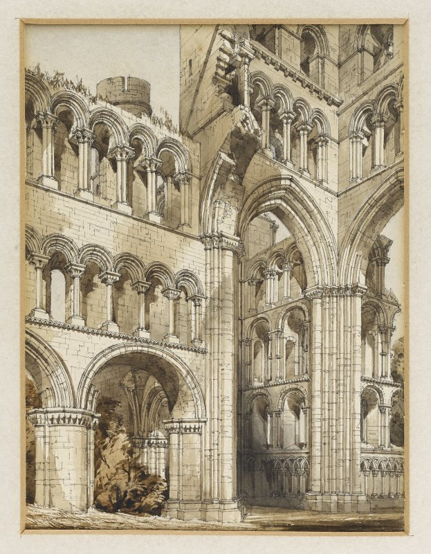 Perspective view from NE of Kelso Abbey by R W Billings that was reproduced in The Baronial and Ecclesiastical Antiquities of Scotland.