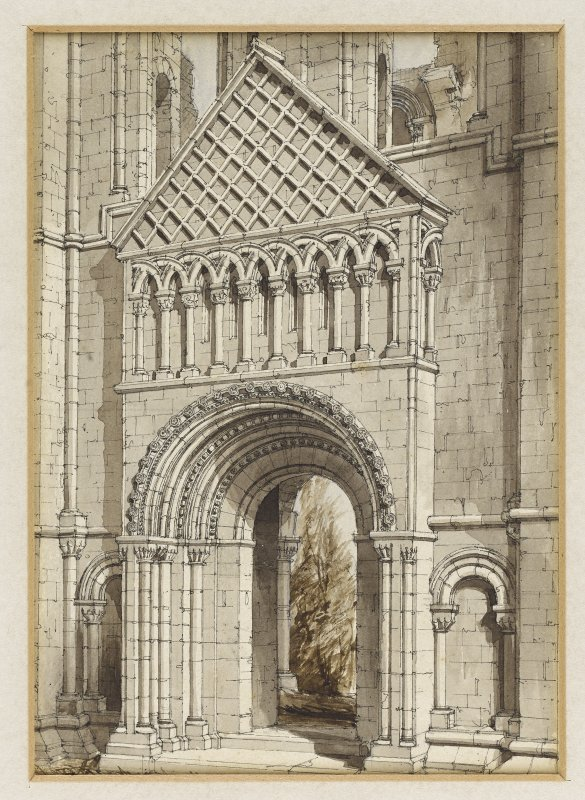 Perspective view from N of doorway, N transept, Kelso Abbey by R W Billings that was reproduced in The Baronial and Ecclesiastical Antiquities of Scotland.