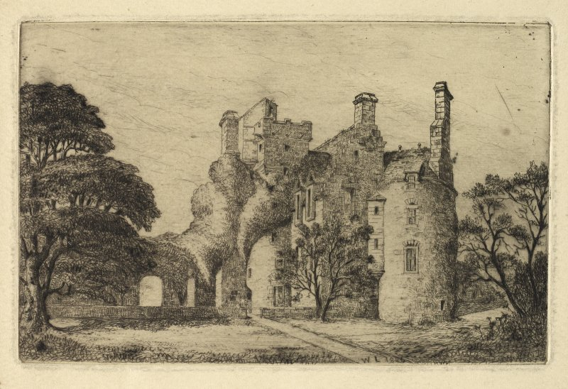 Etching of Earlshall inscribed 'WL 1886'.