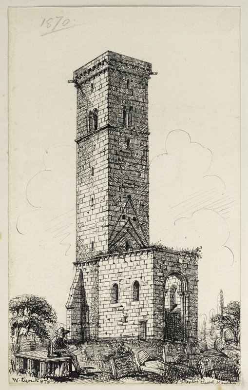 Drawing of St Rule's Tower, St Andrews inscribed 'St Regulus Chapel, St Andrews, W Lyon 1870'.