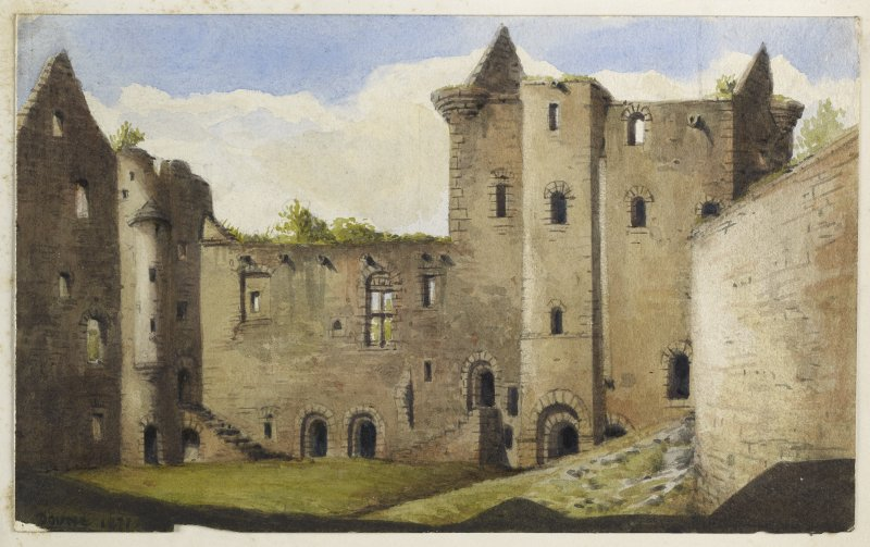 Perspective view of Doune Castle inscribed 'Doune, 1871'.