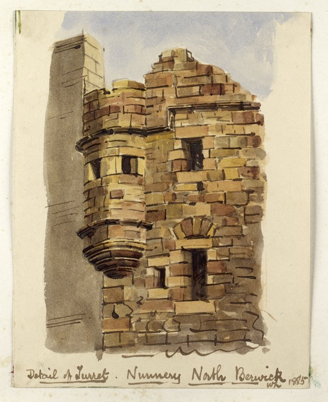 Perspective view of turret, North Berwick Priory inscribed 'Detail of Turret, Nunnery, North Berwick, WL 1885'.