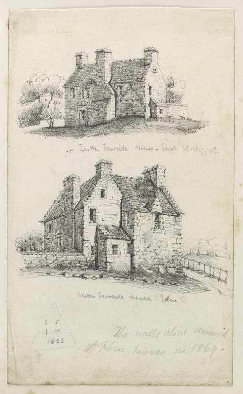 Drawing of houses next to Falside Castle inscribed 'Easter Fawside House, Edin, Oct 1869 WL, Wester Fawside House, Edin and The walls alone remained of these houses in 1869'.