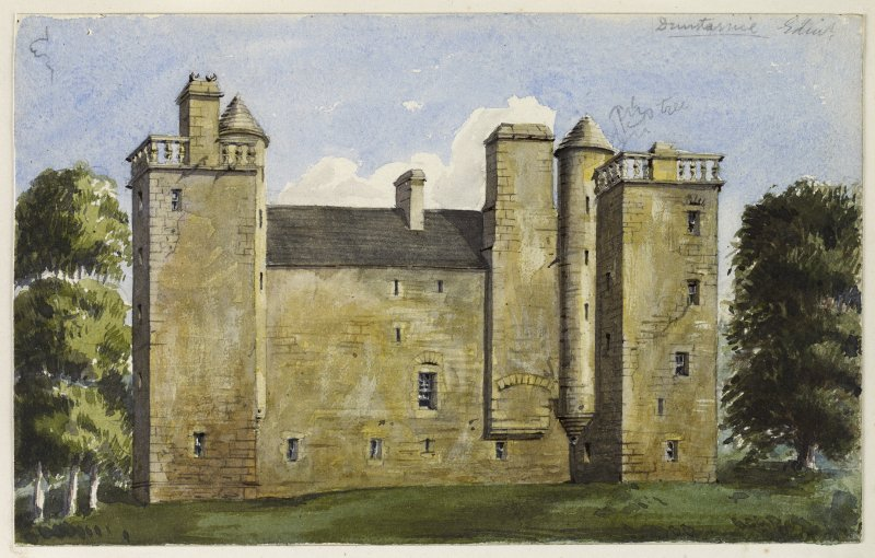 Perspective view of Duntarvie Castle inscribed 'Duntarvie Edin'.