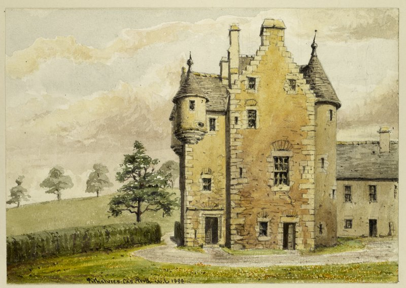 Perspective view of Pitheavlis Castle inscribed 'Pithelvies Cas, Perth, WL 1890.