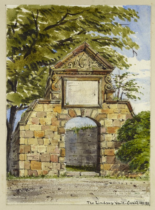 Perspective view of Lindsay of Wormiston Memorial inscribed 'The Lindsay Vault, Crail, WL 92'.