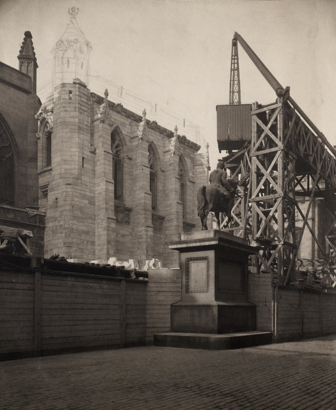 Exterior photograph depicting the construction of the Thistle Chapel. View from Parliament Square.