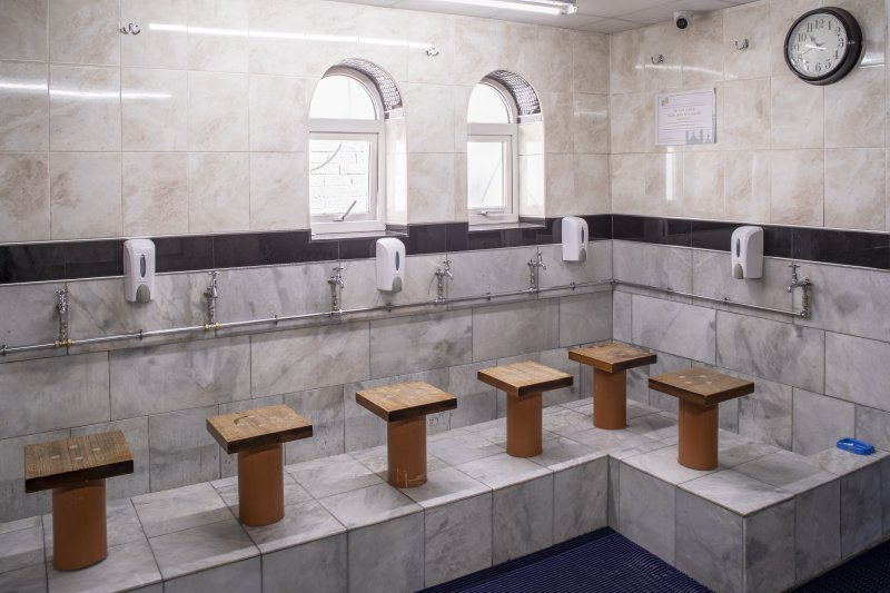 Interior view showing ground-floor washing room from west, in Mosque, Forth Street, Glasgow.