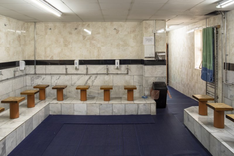 Interior view showing ground-floor washing room from east, in Mosque, Forth Street, Glasgow.