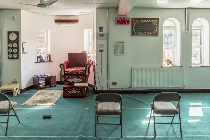 Interior view showing ground-floor prayer hall from west, featuring mihrab and minbar, in Mosque, Forth Street, Glasgow.