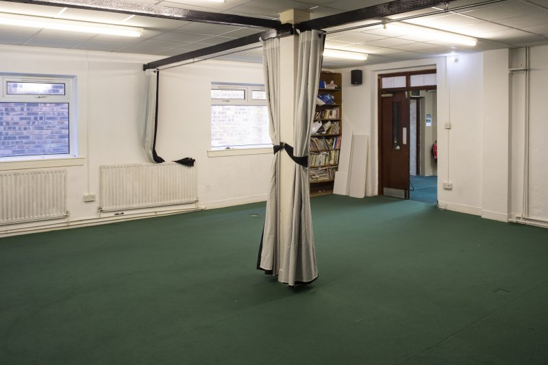 Interior view showing ground-floor hostel room from north-west, in Mosque, Forth Street, Glasgow.