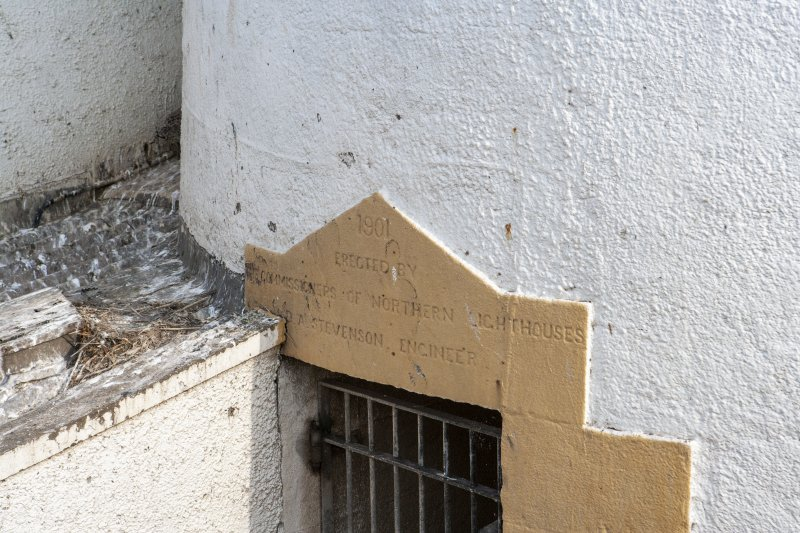Detail of inscription above lighthouse entrance.