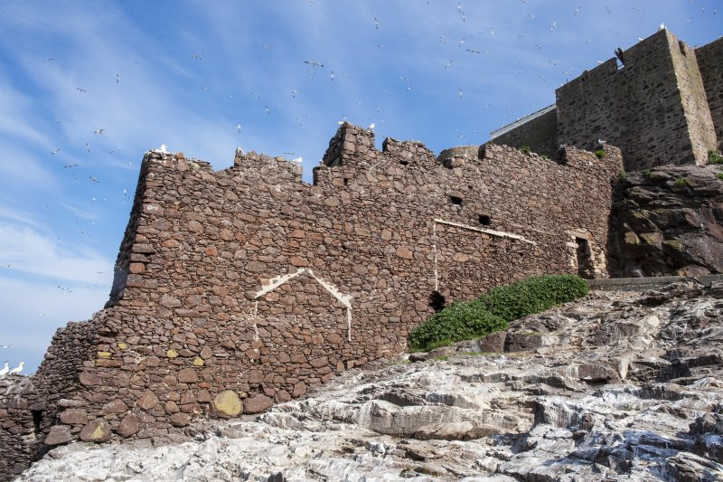 General view of castle wall taken from the south east.