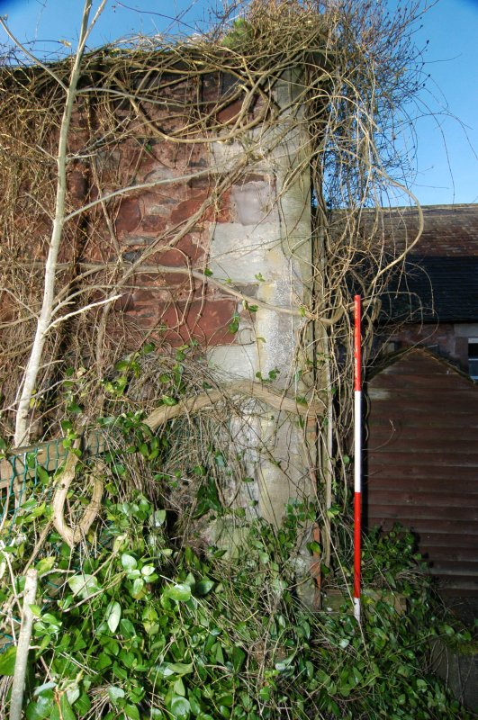 Standing building survey, Partially masked quoins on the N-facing gable, Polwarth Crofts, Scottish Borders