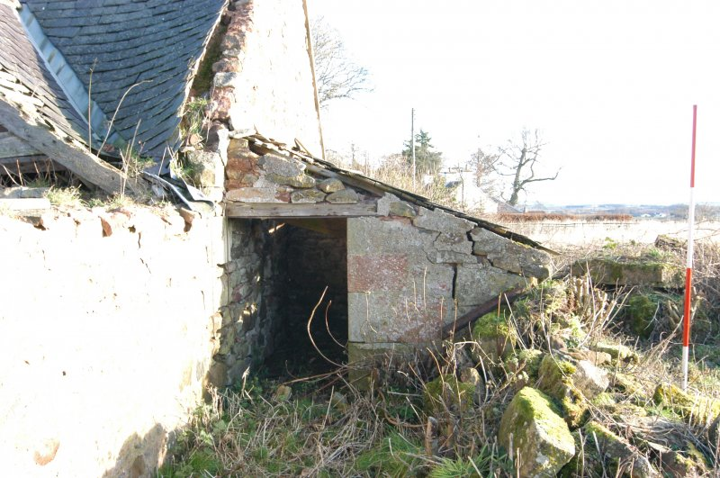 Standing building survey, W-facing doorway of the pigsty, Polwarth Crofts, Scottish Borders