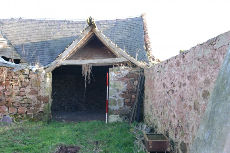 Standing building survey, Entrance and roof trusses above Unit 2, Polwarth Crofts, Scottish Borders