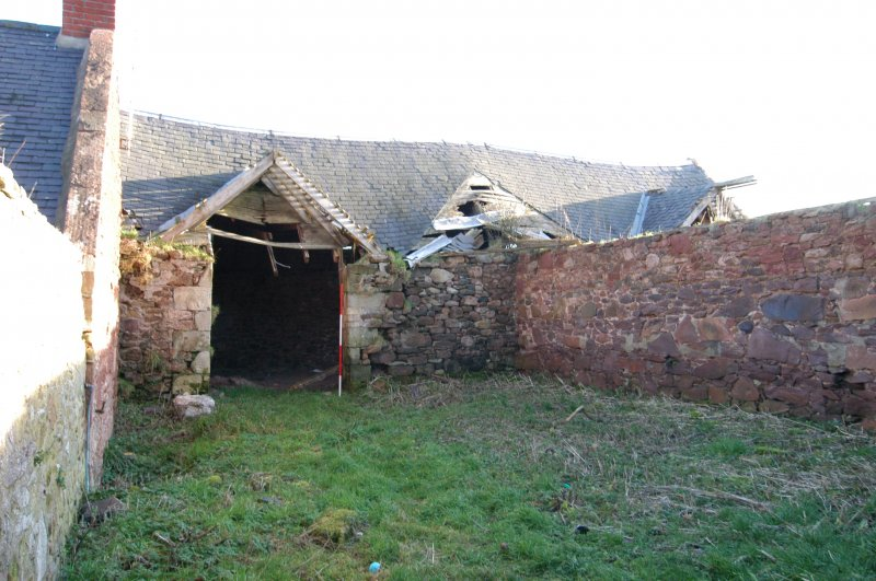 Standing building survey, General view of the central spinal wall, Polwarth Crofts, Scottish Borders