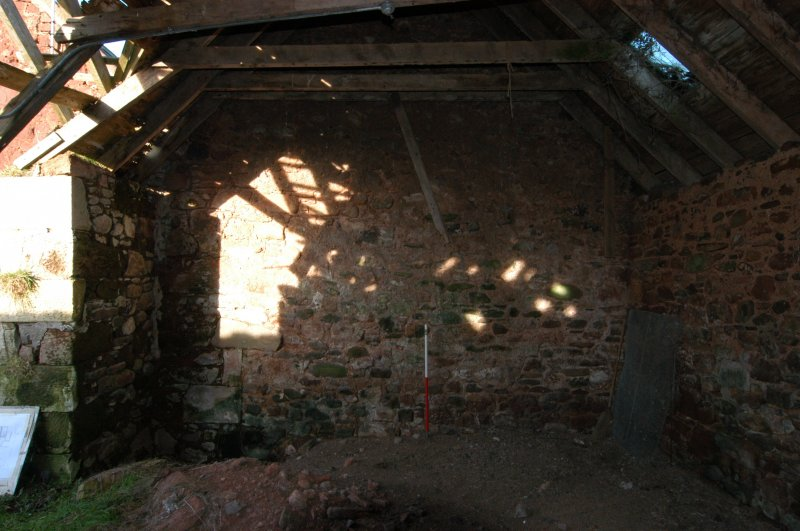 Standing building survey, Interior shot of the S-facing gable wall, Polwarth Crofts, Scottish Borders