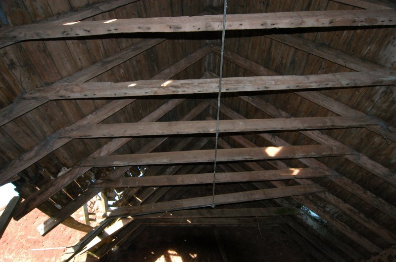 Standing building survey, General shot of the roof trusses, Polwarth Crofts, Scottish Borders