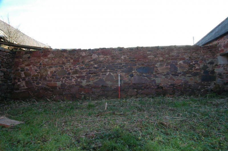 Standing building survey, General shot of the exterior spine wall between the cattle courts, Polwarth Crofts, Scottish Borders