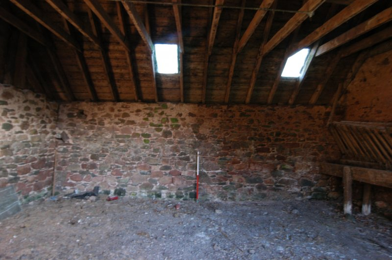 Standing building survey, Interior W-facing elevation in Unit 2, Polwarth Crofts, Scottish Borders