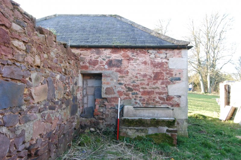 Standing building survey, E-facing elevation of the former feed storage shed, Polwarth Crofts, Scottish Borders