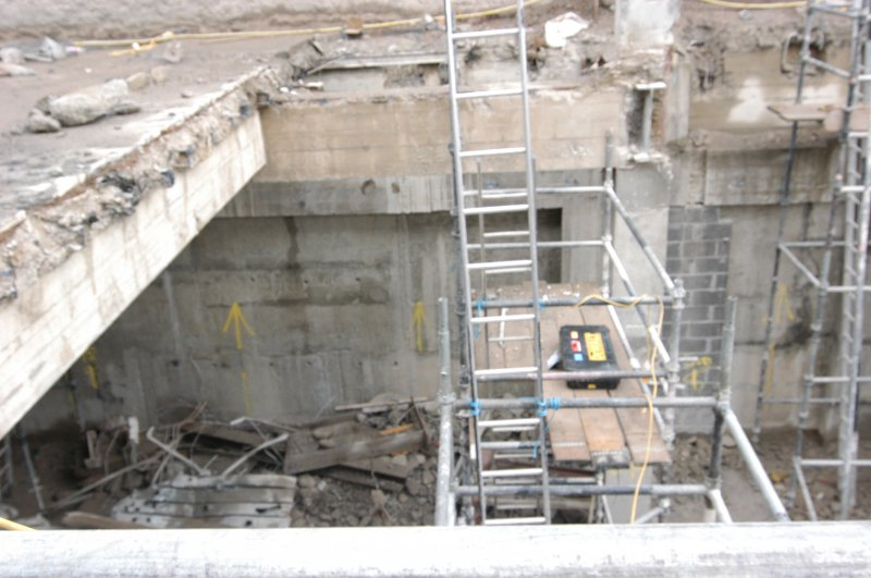 Elevation recording, General shot of basement level below street level, Primark Store, 91-93 Princes St Edinburgh
