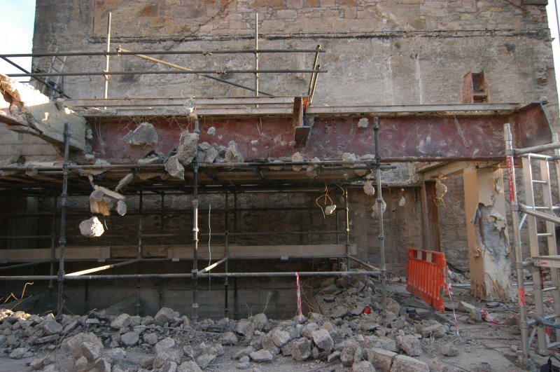 Elevation recording, General shots of the W-facing gable of No 90 Princes Street, structural steel beams during demolition at second floor level, Primark Store, 91-93 Princes St Edinburgh