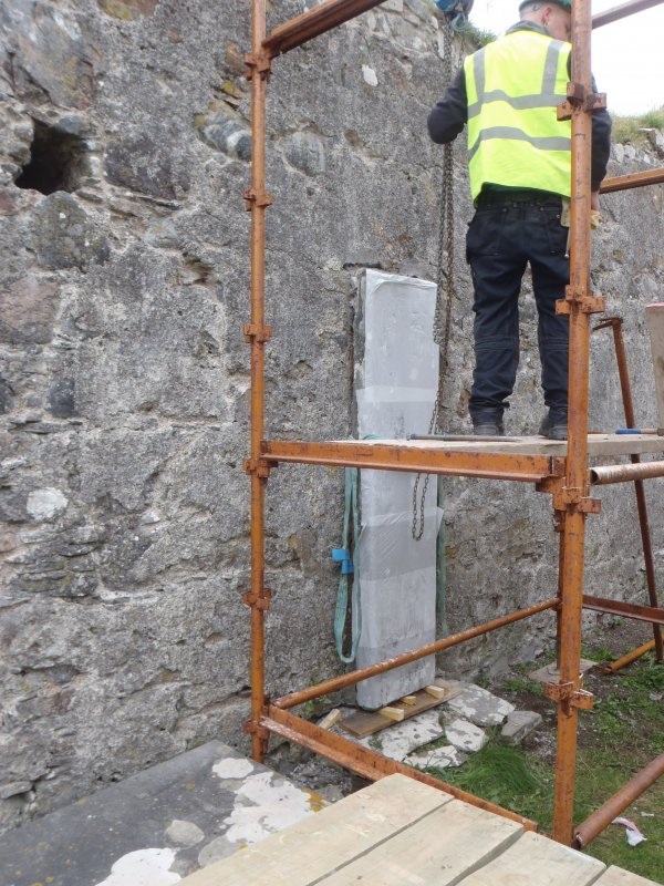 Archaeological works, Stone 2 prepared for removal, St Columba's Chapel, Aiginis, Isle of Lewis