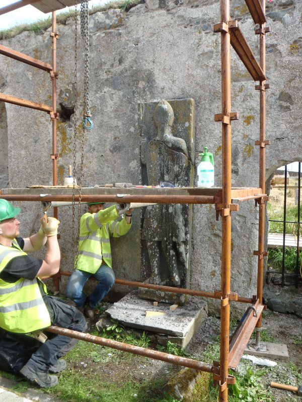 Archaeological works, Stone 1 undergoing removal, St Columba's Chapel, Aiginis, Isle of Lewis